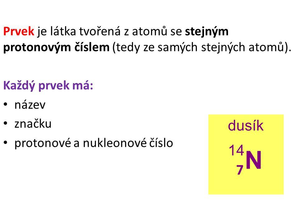 Prvek je látka tvořená z atomů se stejným protonovým číslem (tedy ze samých stejných atomů). Každý prvek má: název značku protonové a nukleonové číslo
