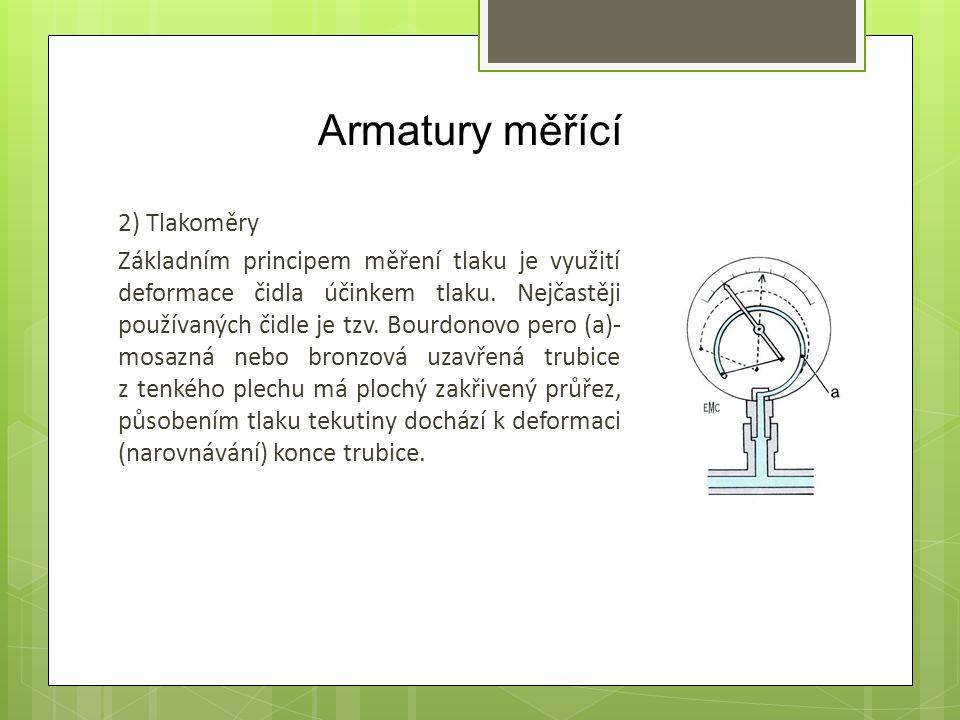 Armatury měřící 2) Tlakoměry Základním principem měření tlaku je využití deformace čidla účinkem tlaku. Nejčastěji používaných čidle je tzv. Bourdonov