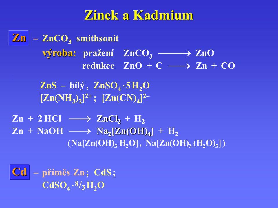 Zinek a Kadmium Zn Zn – ZnCO 3 smithsonit.