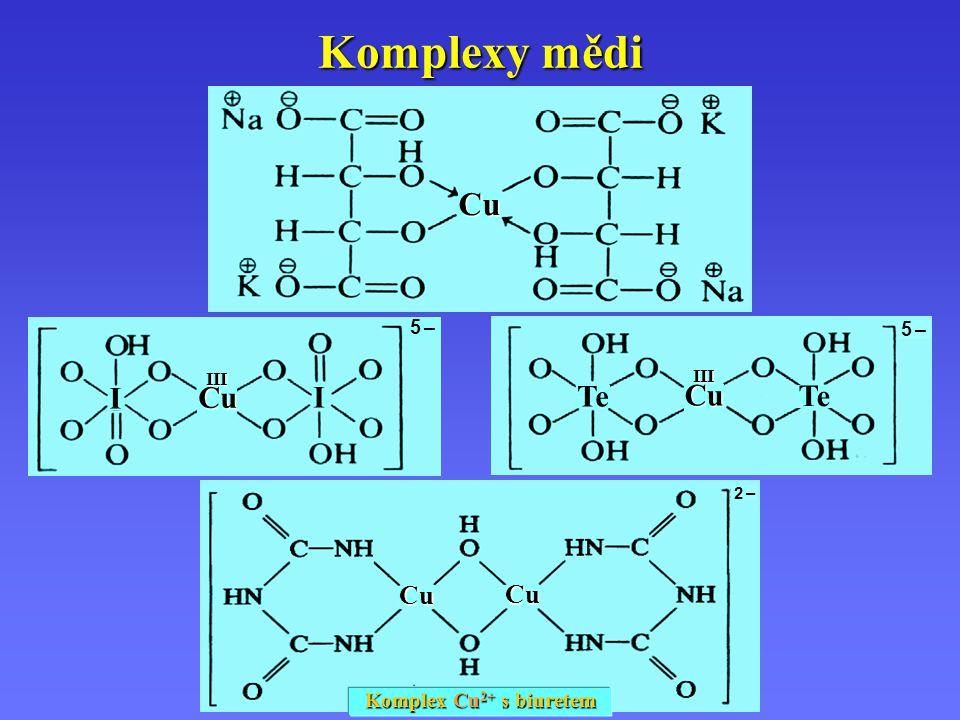 2 –2 – Cu Cu Komplexy mědi Komplex Cu 2+ s biuretem Cu 5 –5 – I I III Cu 5 –5 – III Te Cu