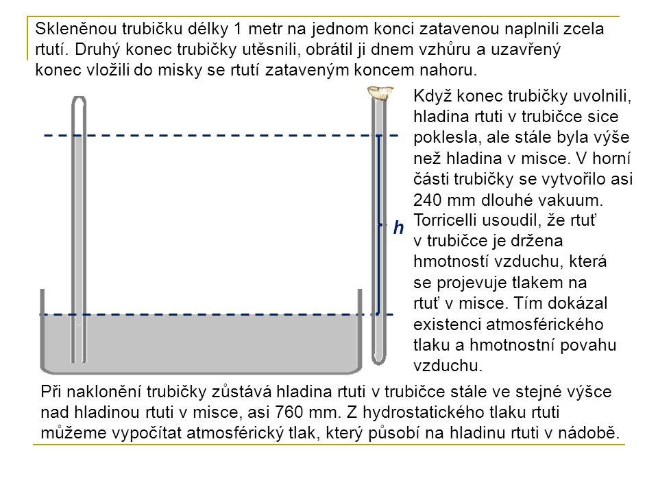 h Při výšce h rtuti v trubičce nad hladinou rtuti v misce je rtuť v klidu, nastala rovnováha.