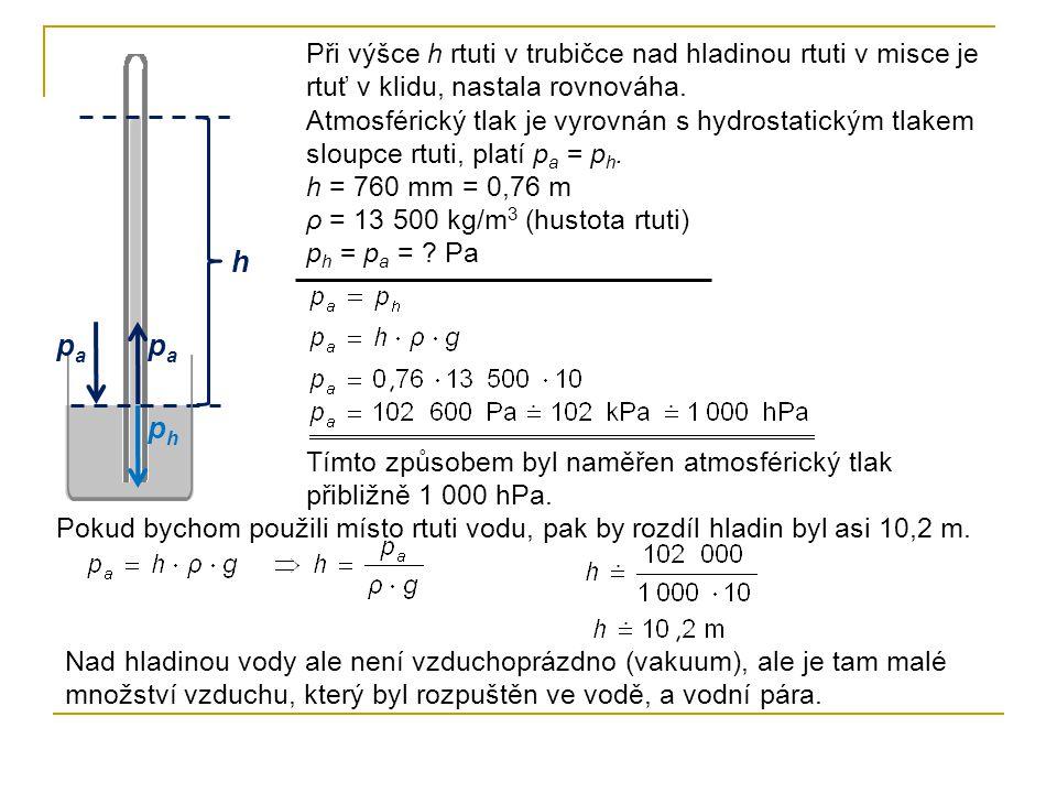 h Při výšce h rtuti v trubičce nad hladinou rtuti v misce je rtuť v klidu, nastala rovnováha. Atmosférický tlak je vyrovnán s hydrostatickým tlakem sl