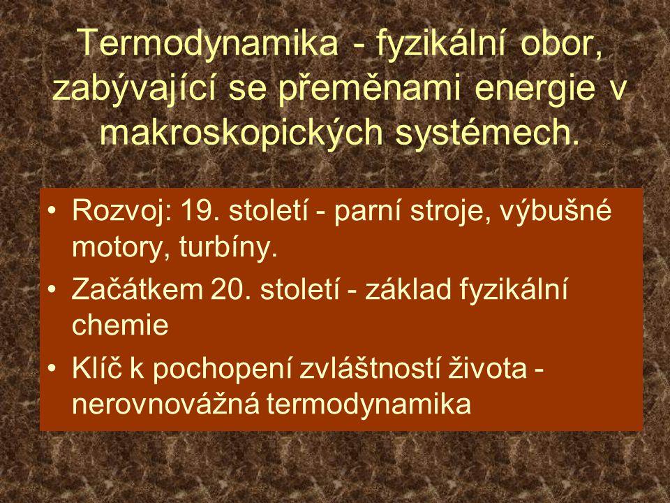 TERMODYNAMICKÝ SYSTÉM - jakékoliv makroskopické těleso (statistický soubor částic, ještě v 19.
