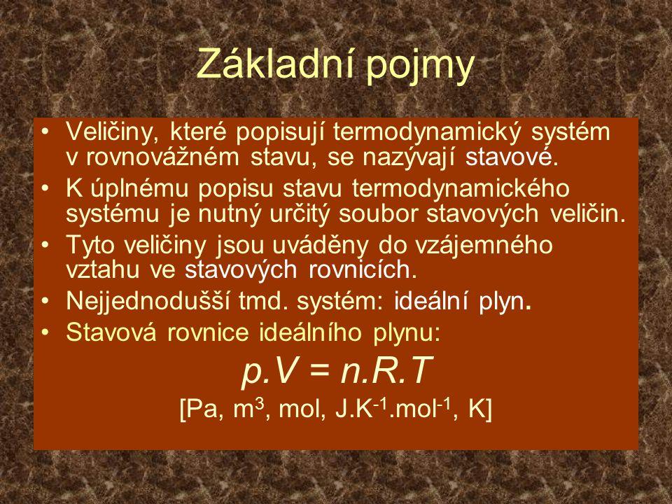 Základní pojmy Veličiny, které popisují termodynamický systém v rovnovážném stavu, se nazývají stavové.