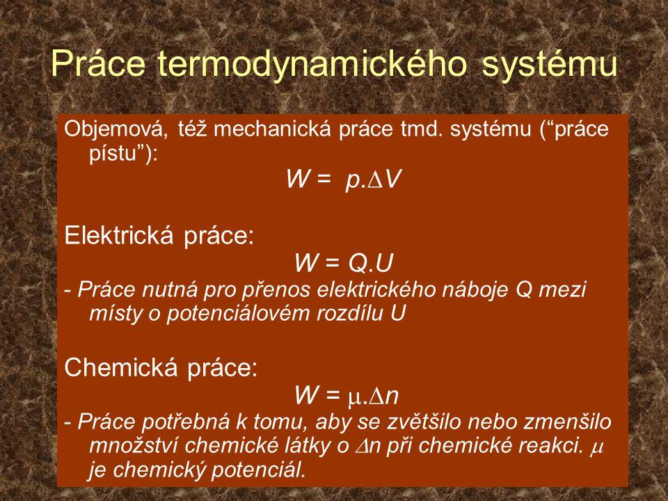 Práce termodynamického systému Objemová, též mechanická práce tmd.