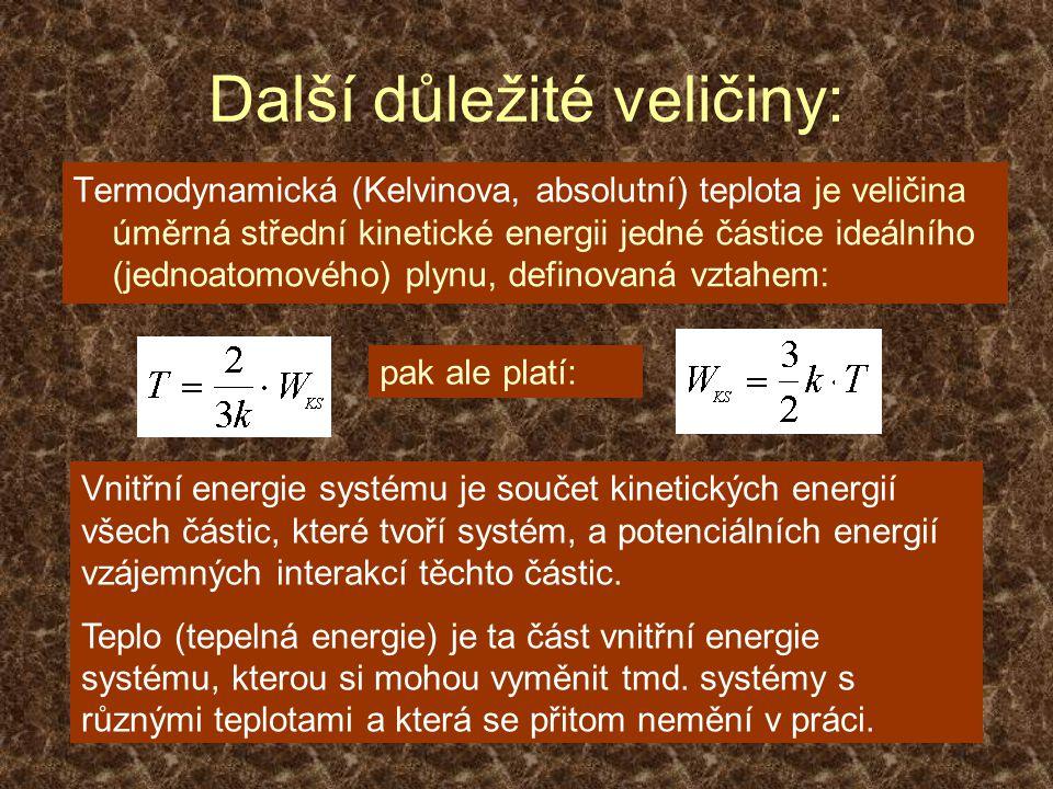 Další důležité veličiny: Termodynamická (Kelvinova, absolutní) teplota je veličina úměrná střední kinetické energii jedné částice ideálního (jednoatomového) plynu, definovaná vztahem: pak ale platí: Vnitřní energie systému je součet kinetických energií všech částic, které tvoří systém, a potenciálních energií vzájemných interakcí těchto částic.
