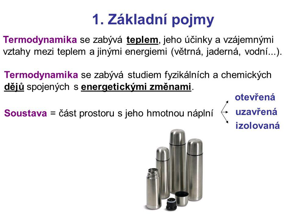 1.Základní pojmy Stavové veličiny = charakterizují aktuální stav soustavy.
