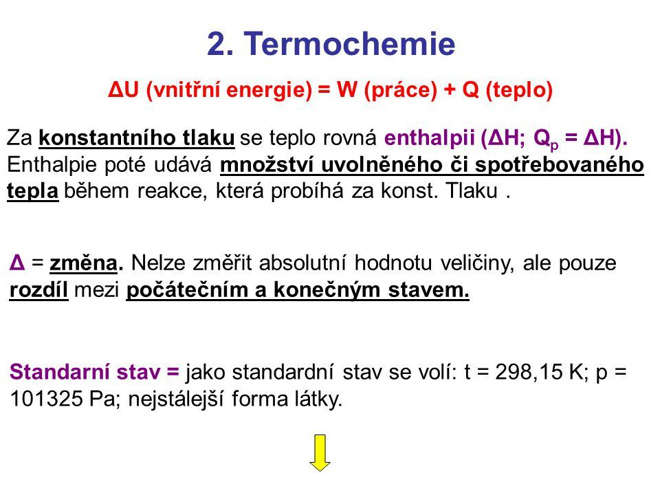 Za konstantního tlaku se teplo rovná enthalpii (ΔH; Q p = ΔH). Enthalpie poté udává množství uvolněného či spotřebovaného tepla během reakce, která pr