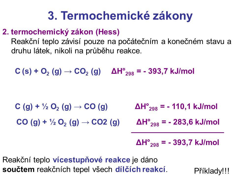 3. Termochemické zákony 2. termochemický zákon (Hess) Reakční teplo závisí pouze na počátečním a konečném stavu a druhu látek, nikoli na průběhu reakc