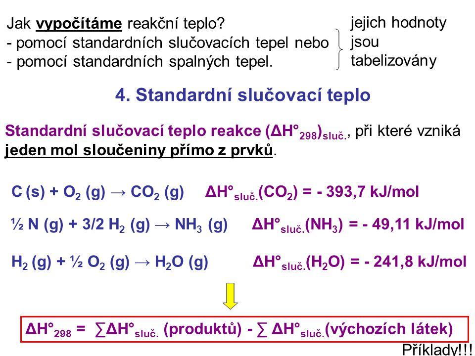 4. Standardní slučovací teplo Jak vypočítáme reakční teplo? - pomocí standardních slučovacích tepel nebo - pomocí standardních spalných tepel. Příklad