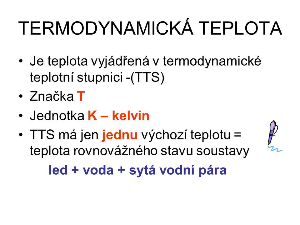 TERMODYNAMICKÁ TEPLOTA Je teplota vyjádřená v termodynamické teplotní stupnici -(TTS) Značka T Jednotka K – kelvin TTS má jen jednu výchozí teplotu = teplota rovnovážného stavu soustavy led + voda + sytá vodní pára