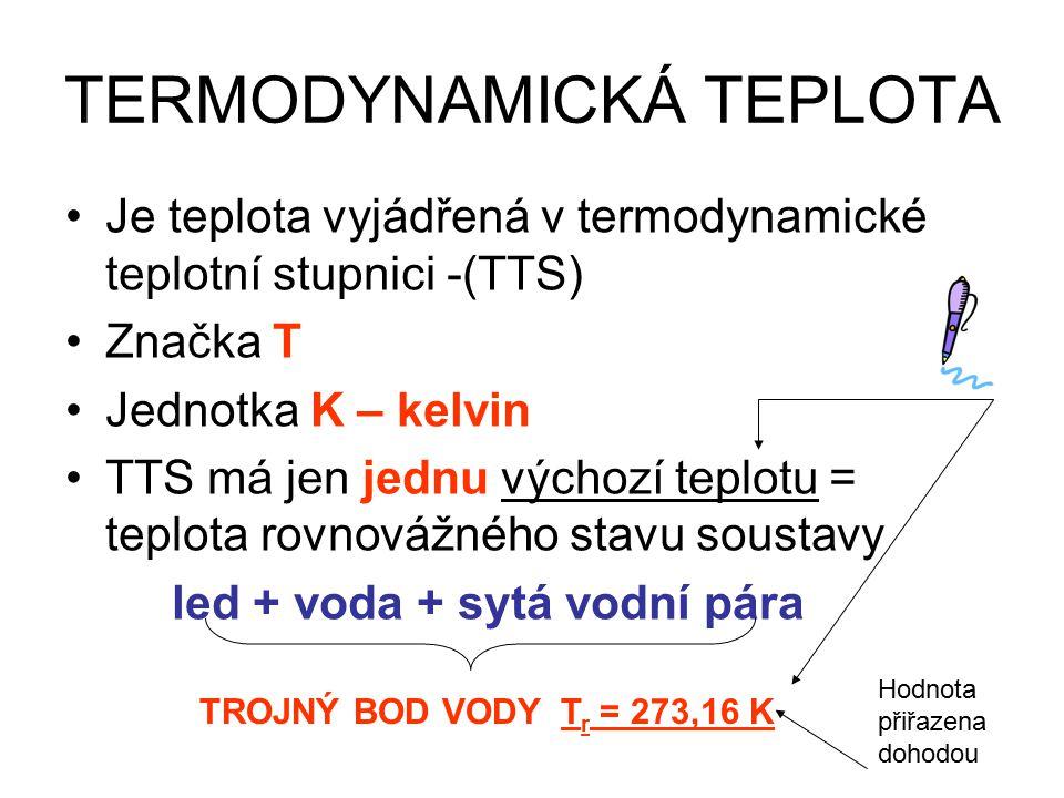 TERMODYNAMICKÁ TEPLOTA Je teplota vyjádřená v termodynamické teplotní stupnici -(TTS) Značka T Jednotka K – kelvin TTS má jen jednu výchozí teplotu = teplota rovnovážného stavu soustavy led + voda + sytá vodní pára TROJNÝ BOD VODY T r = 273,16 K Hodnota přiřazena dohodou