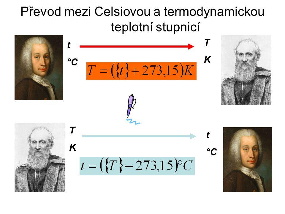 Převod mezi Celsiovou a termodynamickou teplotní stupnicí t °C TKTK TKTK t °C