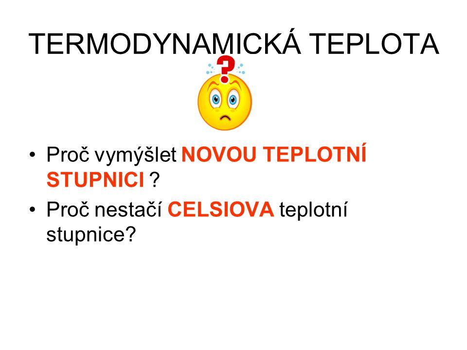 TERMODYNAMICKÁ TEPLOTA Definice jednoho kelvinu: KELVIN JE 1/273,16 DÍL TERMODYNAMICKÉ TEPLOTY TROJNÉHO BODU VODY
