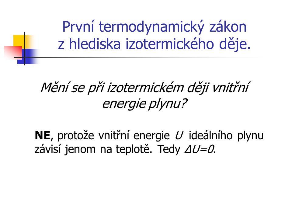 První termodynamický zákon z hlediska izotermického děje. Mění se při izotermickém ději vnitřní energie plynu? NE, protože vnitřní energie U ideálního
