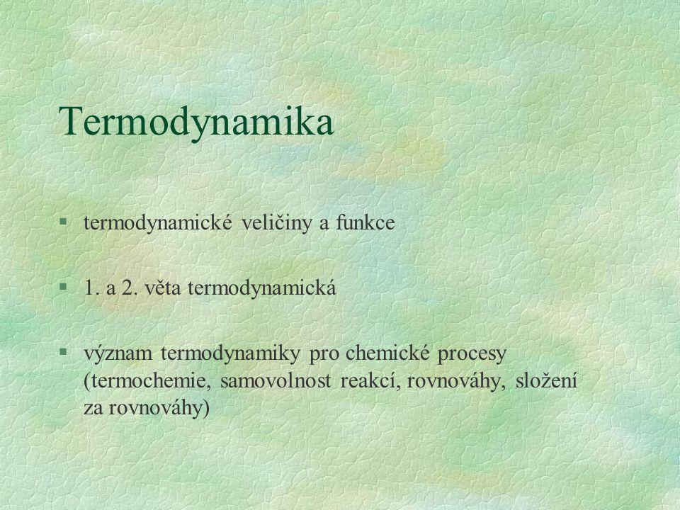Termodynamika §termodynamické veličiny a funkce §1.