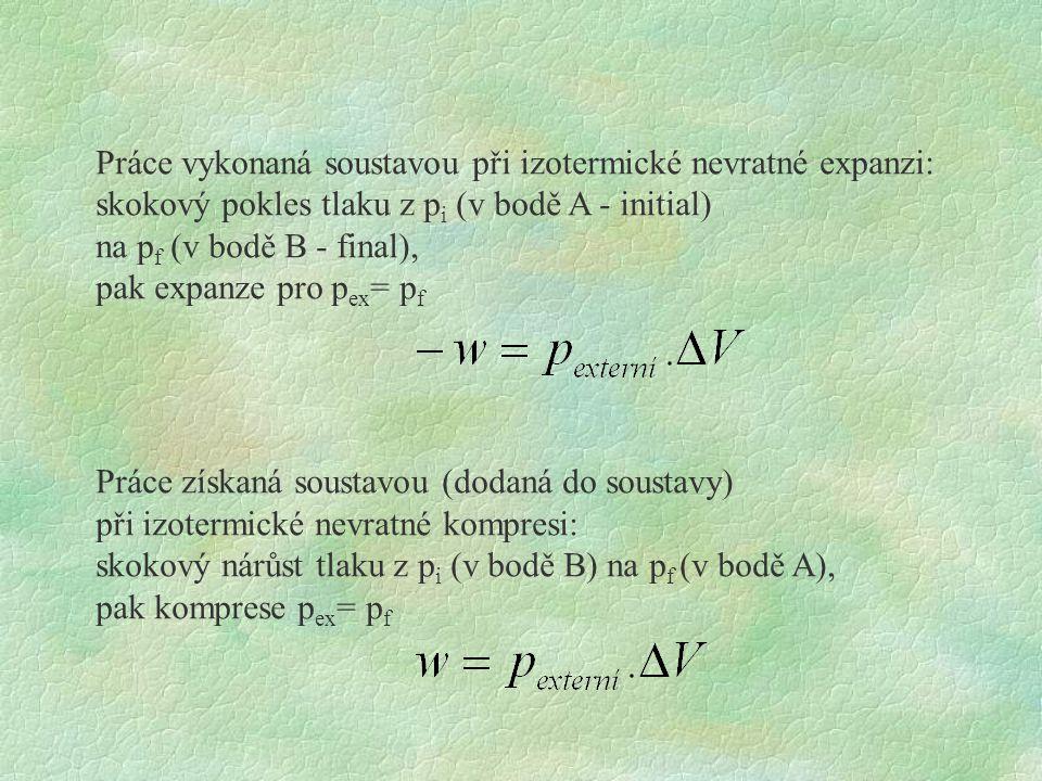 Práce vykonaná soustavou při izotermické nevratné expanzi: skokový pokles tlaku z p i (v bodě A - initial) na p f (v bodě B - final), pak expanze pro p ex = p f Práce získaná soustavou (dodaná do soustavy) při izotermické nevratné kompresi: skokový nárůst tlaku z p i (v bodě B) na p f (v bodě A), pak komprese p ex = p f