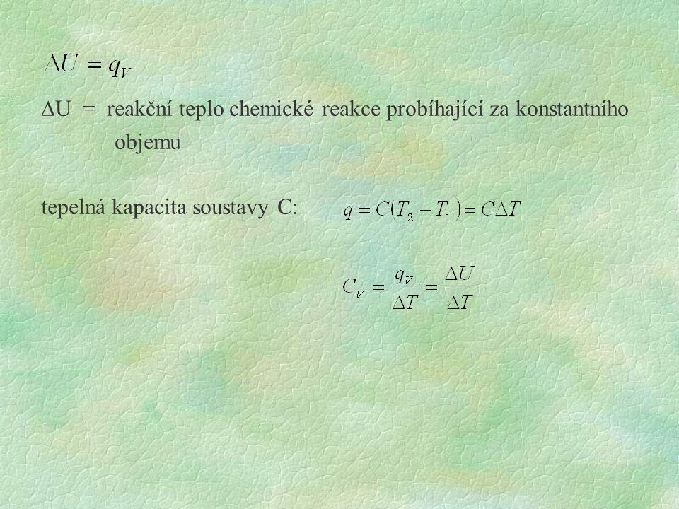  U = reakční teplo chemické reakce probíhající za konstantního objemu tepelná kapacita soustavy C: