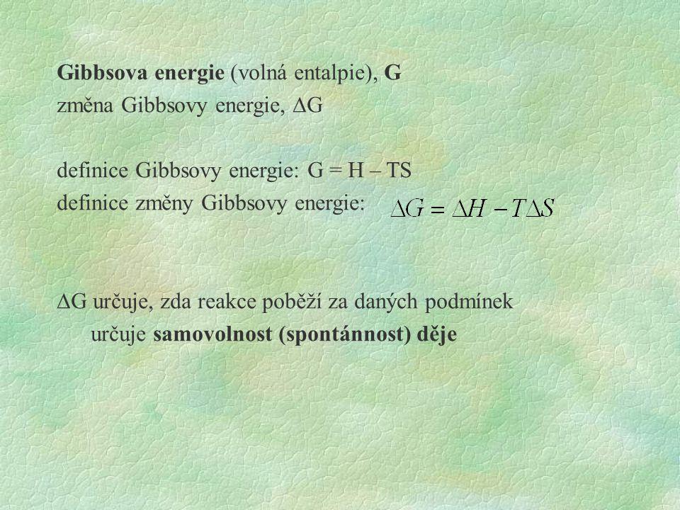 Gibbsova energie (volná entalpie), G změna Gibbsovy energie,  G definice Gibbsovy energie: G = H – TS definice změny Gibbsovy energie:  G určuje, zda reakce poběží za daných podmínek určuje samovolnost (spontánnost) děje