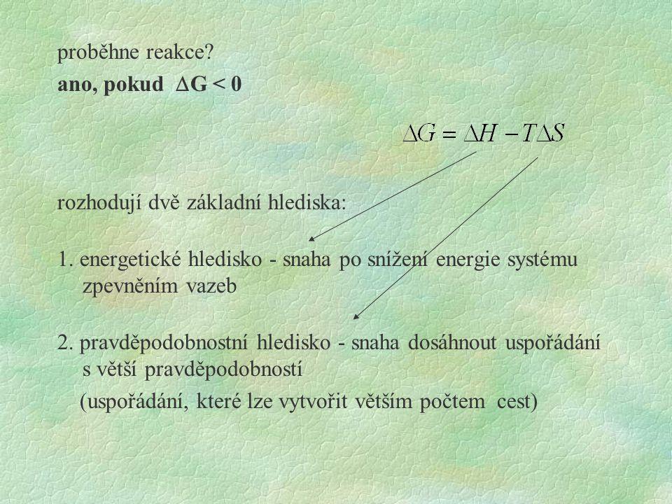 proběhne reakce.ano, pokud  G < 0 rozhodují dvě základní hlediska: 1.