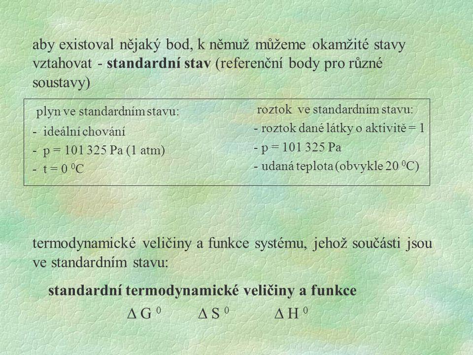 standardní termodynamické funkce, změny standardních funkcí: