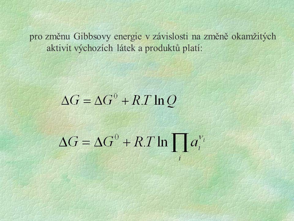 pro změnu Gibbsovy energie v závislosti na změně okamžitých aktivit výchozích látek a produktů platí:
