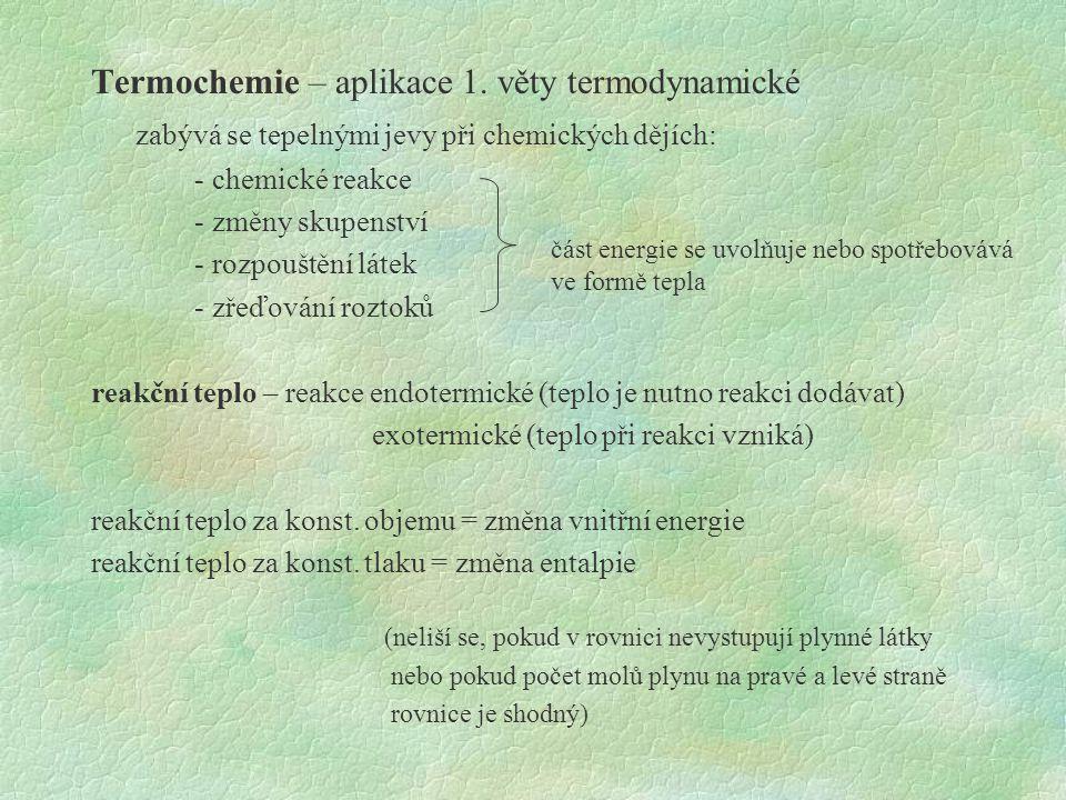 Termochemie – aplikace 1.