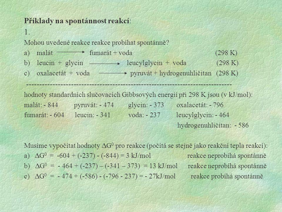 Příklady na spontánnost reakcí: 1.Mohou uvedené reakce reakce probíhat spontánně.