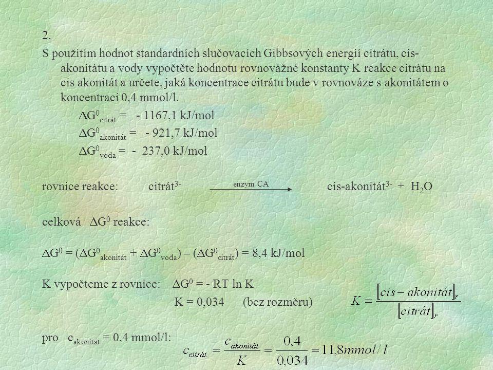 2. S použitím hodnot standardních slučovacích Gibbsových energií citrátu, cis- akonitátu a vody vypočtěte hodnotu rovnovážné konstanty K reakce citrát