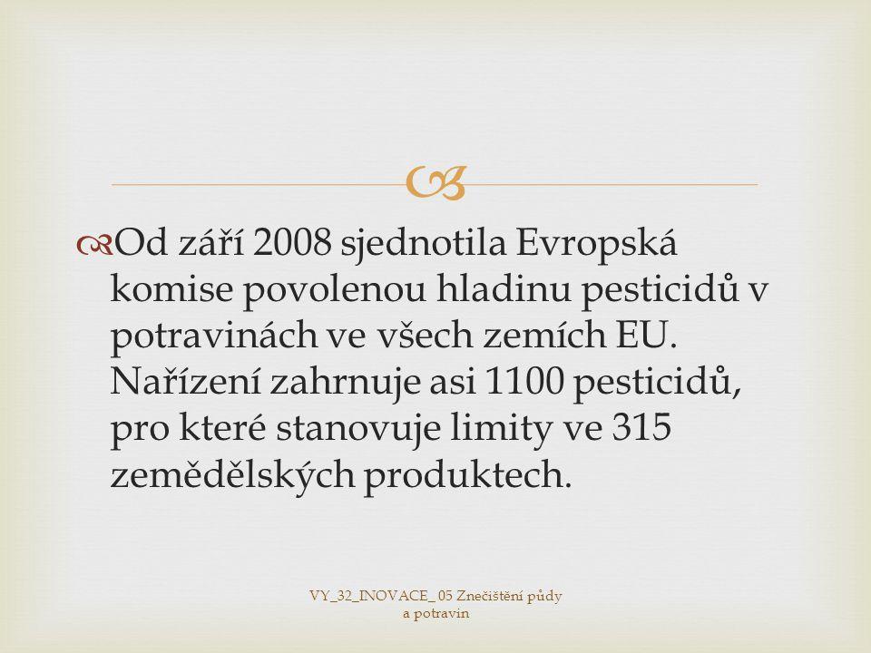   Od září 2008 sjednotila Evropská komise povolenou hladinu pesticidů v potravinách ve všech zemích EU.