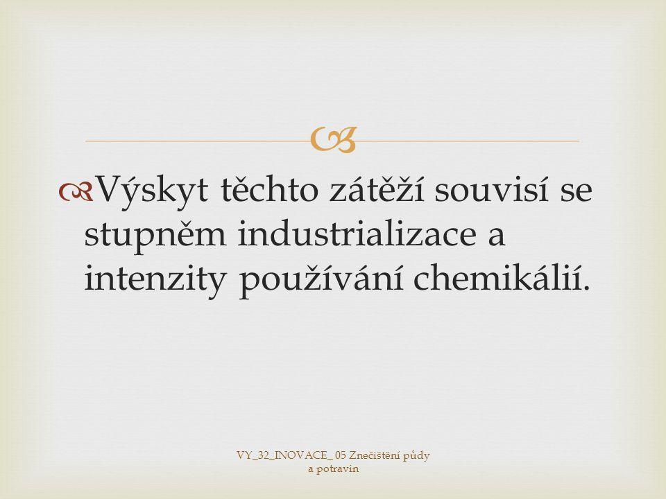   Výskyt těchto zátěží souvisí se stupněm industrializace a intenzity používání chemikálií.