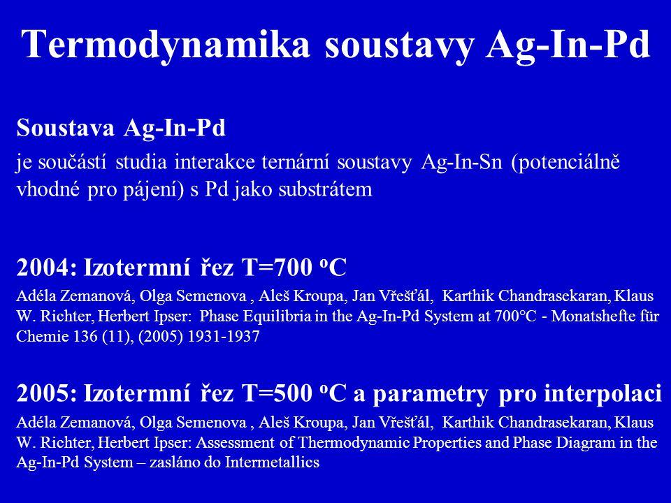 Termodynamika soustavy Ag-In-Pd Soustava Ag-In-Pd je součástí studia interakce ternární soustavy Ag-In-Sn (potenciálně vhodné pro pájení) s Pd jako substrátem 2004: Izotermní řez T=700 o C Adéla Zemanová, Olga Semenova, Aleš Kroupa, Jan Vřešťál, Karthik Chandrasekaran, Klaus W.