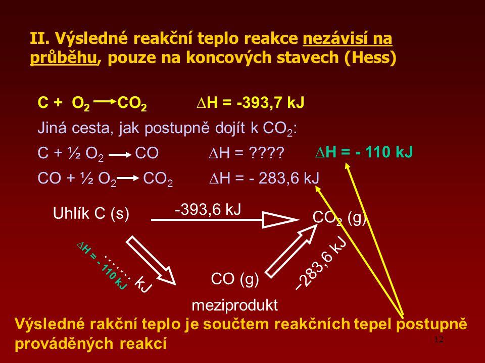 12 II. Výsledné reakční teplo reakce nezávisí na průběhu, pouze na koncových stavech (Hess) Uhlík C (s) CO (g) meziprodukt ……. kJ −283,6 kJ CO 2 (g) -