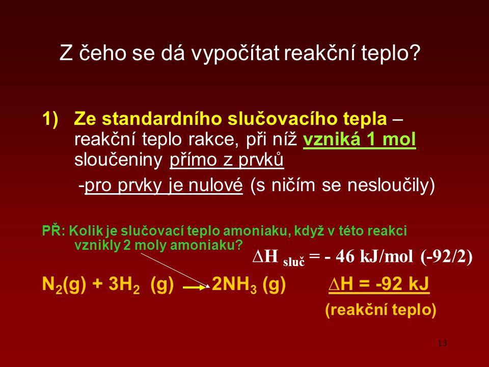 13 Z čeho se dá vypočítat reakční teplo? 1)Ze standardního slučovacího tepla – reakční teplo rakce, při níž vzniká 1 mol sloučeniny přímo z prvků -pro