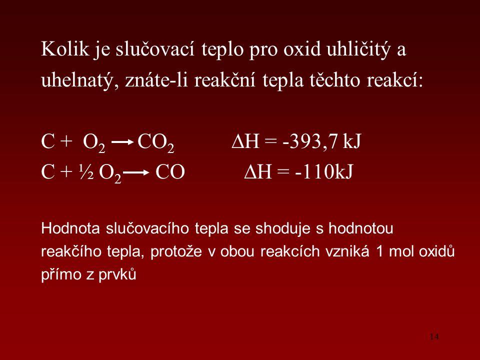 14 Kolik je slučovací teplo pro oxid uhličitý a uhelnatý, znáte-li reakční tepla těchto reakcí: C + O 2 CO 2 ∆H = -393,7 kJ C + ½ O 2 CO ∆H = -110kJ H
