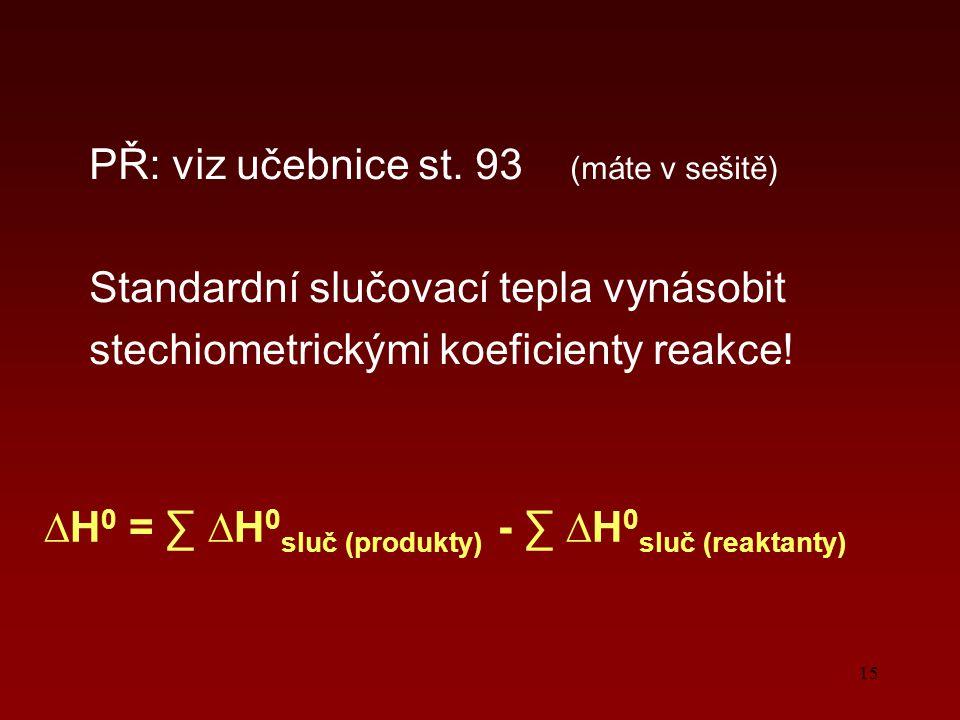 15 PŘ: viz učebnice st. 93 (máte v sešitě) Standardní slučovací tepla vynásobit stechiometrickými koeficienty reakce! ∆H 0 = ∑ ∆H 0 sluč (produkty) -