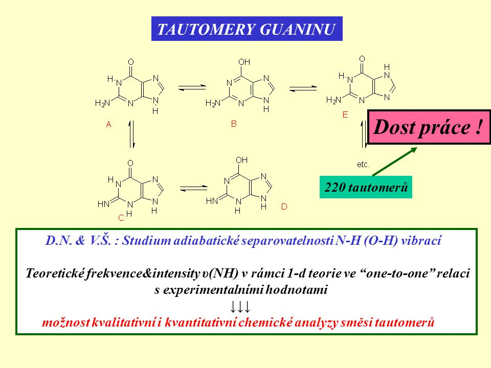 TAUTOMERY GUANINU 220 tautomerů D.N. & V.Š. : Studium adiabatické separovatelnosti N-H (O-H) vibrací Teoretické frekvence&intensity υ(NH) v rámci 1-d