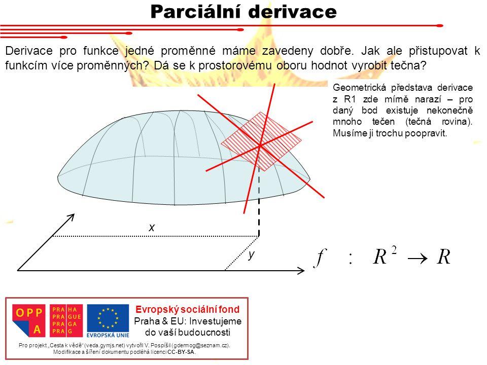 Parciální derivace Derivace pro funkce jedné proměnné máme zavedeny dobře.
