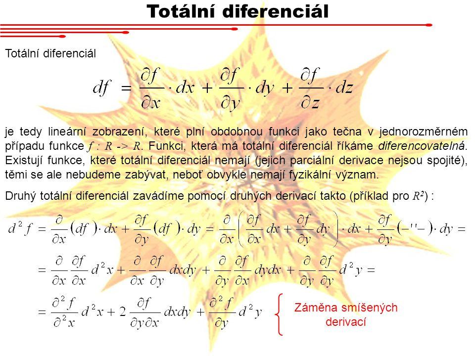 Totální diferenciál je tedy lineární zobrazení, které plní obdobnou funkci jako tečna v jednorozměrném případu funkce f : R -> R.