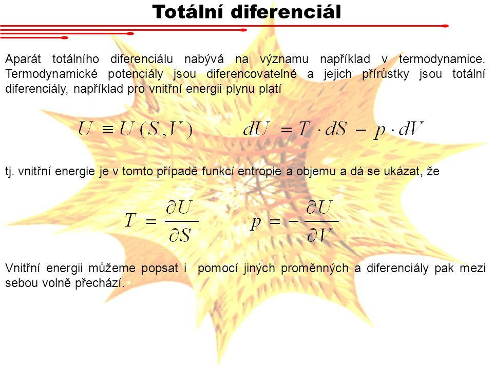 Totální diferenciál Aparát totálního diferenciálu nabývá na významu například v termodynamice.
