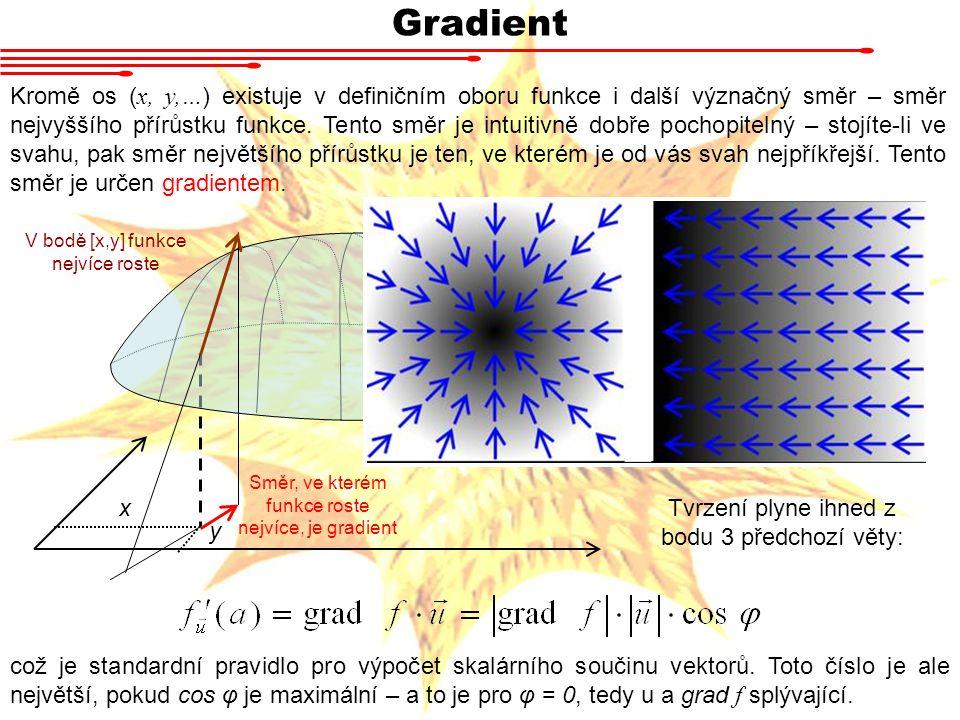 Gradient Kromě os ( x, y,… ) existuje v definičním oboru funkce i další význačný směr – směr nejvyššího přírůstku funkce.