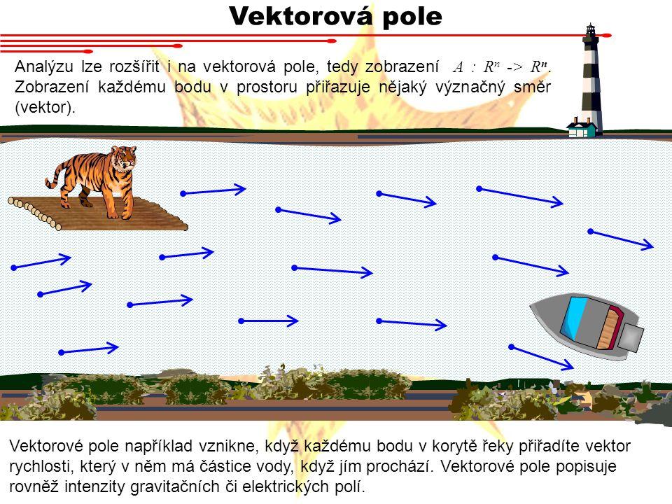Vektorová pole Analýzu lze rozšířit i na vektorová pole, tedy zobrazení A : R n -> R n.