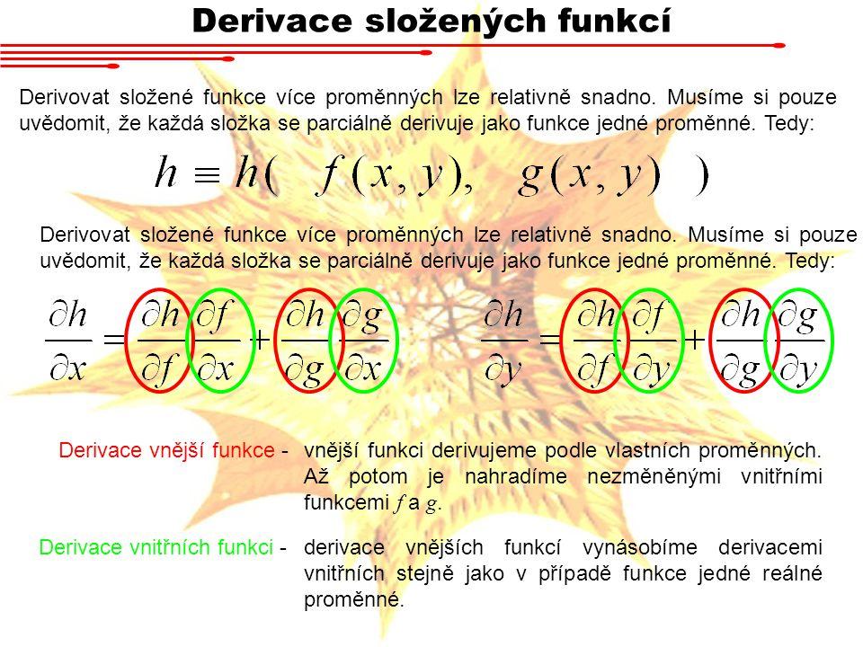 Derivace složených funkcí Derivovat složené funkce více proměnných lze relativně snadno.