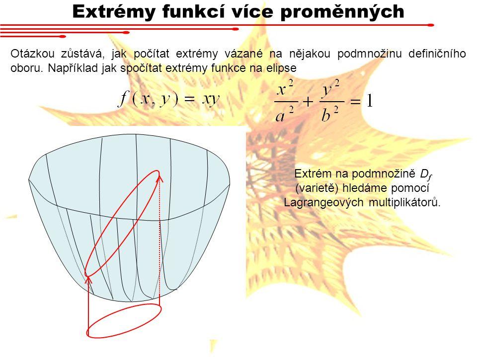 Extrémy funkcí více proměnných Otázkou zůstává, jak počítat extrémy vázané na nějakou podmnožinu definičního oboru.