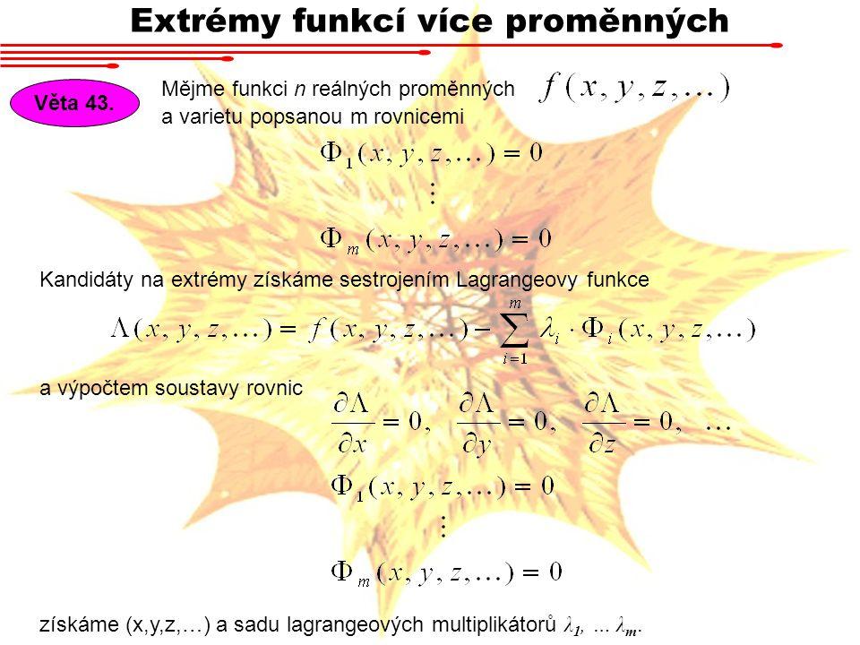 Extrémy funkcí více proměnných Mějme funkci n reálných proměnných Věta 43.