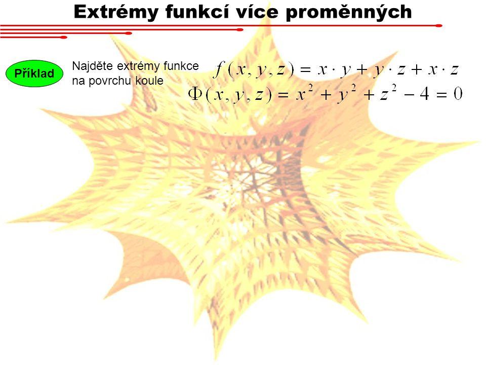 Extrémy funkcí více proměnných Najděte extrémy funkce na povrchu koule Příklad