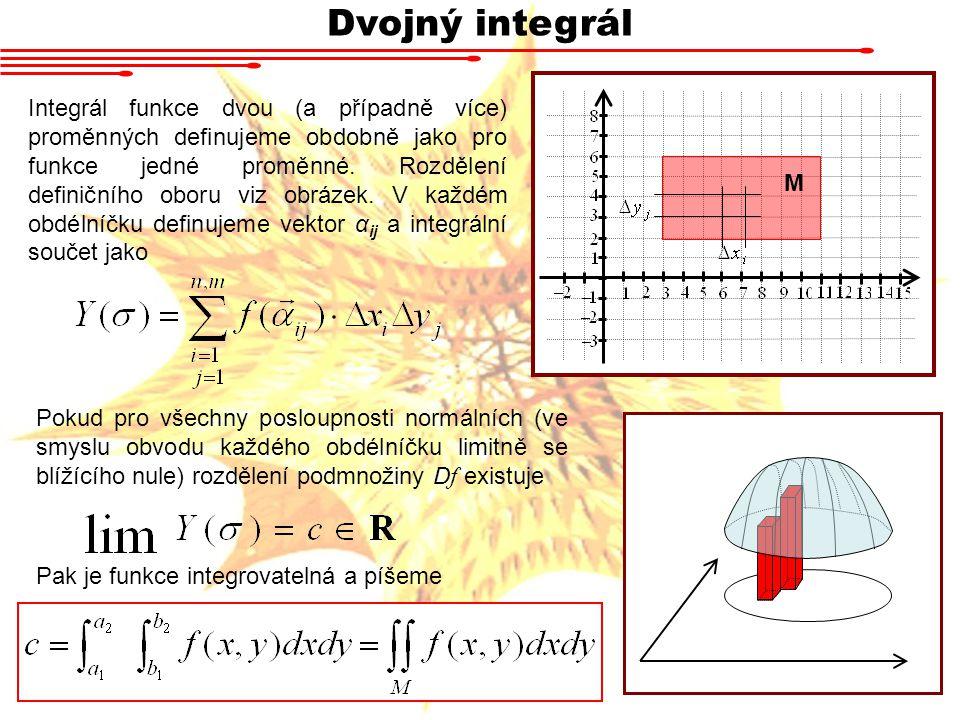 Dvojný integrál Integrál funkce dvou (a případně více) proměnných definujeme obdobně jako pro funkce jedné proměnné.