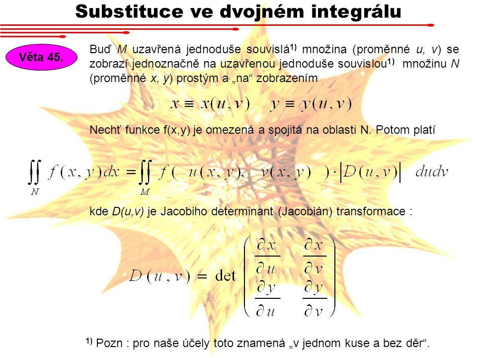 """Substituce ve dvojném integrálu Buď M uzavřená jednoduše souvislá 1) množina (proměnné u, v) se zobrazí jednoznačně na uzavřenou jednoduše souvislou 1) množinu N (proměnné x, y) prostým a """"na zobrazením Věta 45."""