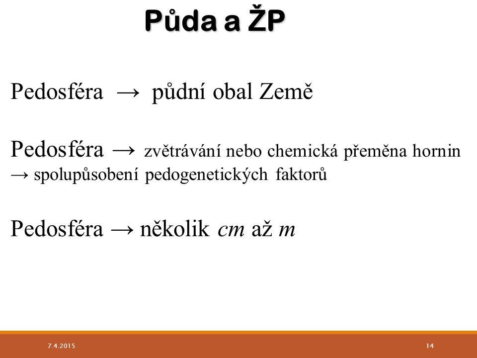Pedosféra → půdní obal Země Pedosféra → zvětrávání nebo chemická přeměna hornin → spolupůsobení pedogenetických faktorů Pedosféra → několik cm až m P