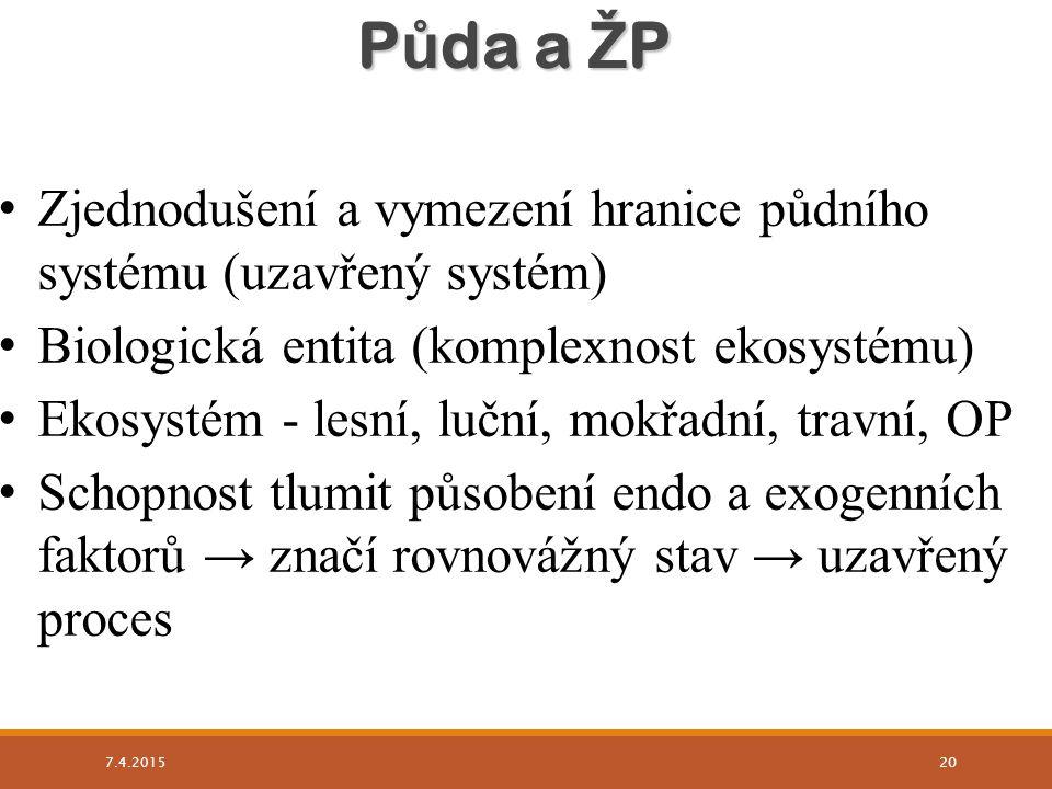 Zjednodušení a vymezení hranice půdního systému (uzavřený systém) Biologická entita (komplexnost ekosystému) Ekosystém - lesní, luční, mokřadní, travn